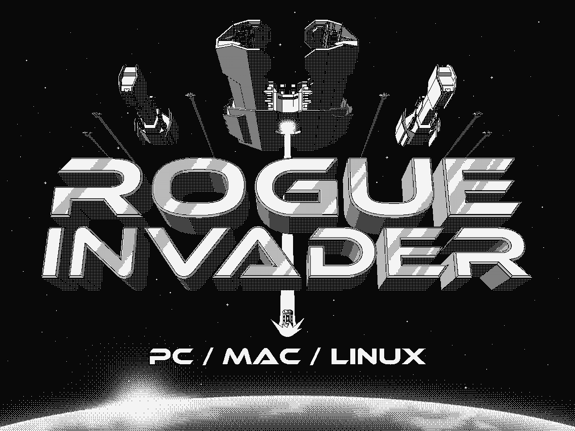 Rogue Invader a 1-Bit Retro awesome alien invasion for Linux, Mac and Windows PC