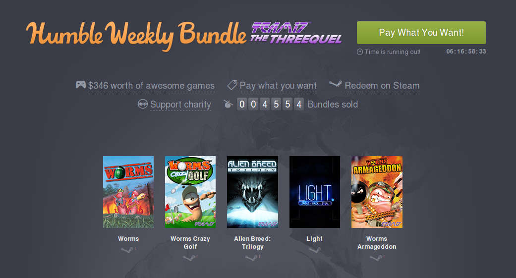 Humble Weekly Bundle – Team17 The Threequel release for Linux, Mac and Windows PC