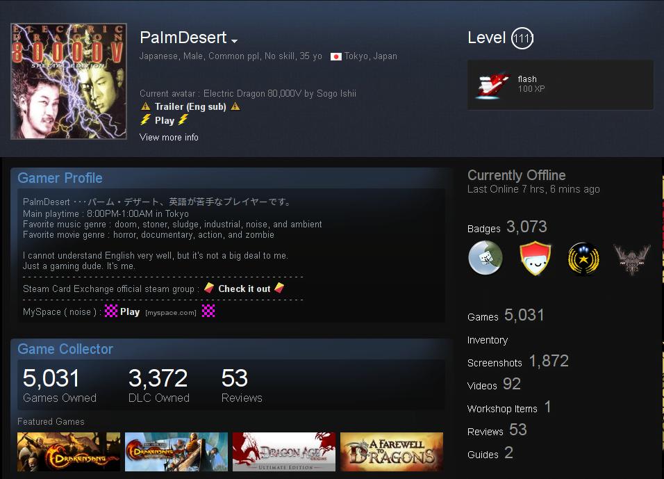Steam user PalmDesert passed Level 1000